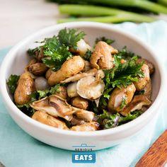 potatotes, kale, mushrooms, shallots