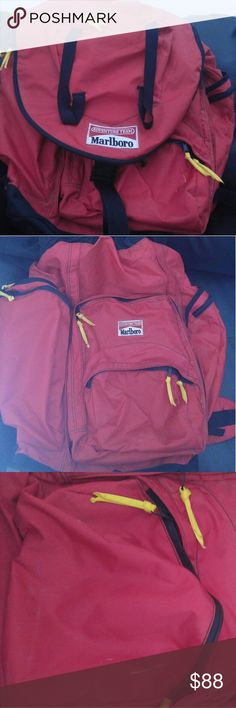 Marlboro Adventure Team Hiking Backpack Price is non negotiable  Rare hiking bag. Includes mini backpack and back support All zippers work Marlboro Bags Backpacks
