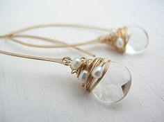 Crystal and pearl hoops