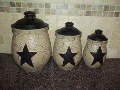 Primitive Crackle Ceramic Set of 3 Canisters ~ Black Stars ~ Country Decor #NaivePrimitive