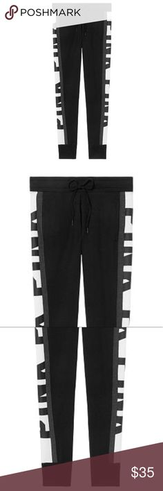 29a9f08a43a NWT PINK Black White Skinny Joggers NWT Skinny Joggers with Bold Logo in  Black