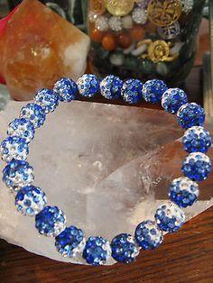 "New 8"" Blue & White Shimmer Rustic Crystal Ball Shamballa Cuff Bracelet"