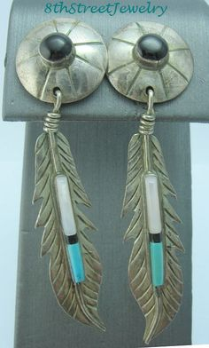 Estate Southwestern Sterling Silver 925 Turquoise MOP Onyx Feather Earrings #Unbranded