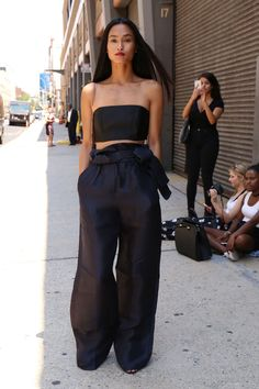Wide pants and bandeau top