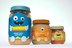 Little Monsters Baby Food Packaging. Unfortunately baby-led weaning makes products like this unnecessary, but cut design non the less