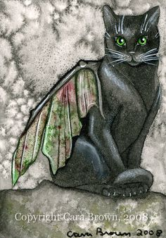 Cat Fairy painting in watercolor 5 x 7 matted by TheElfinForest, $10.00