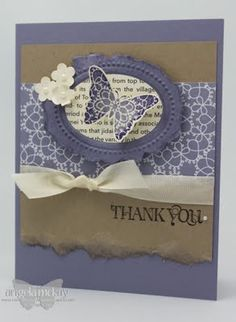 Could make with Stampin Up Bliss butterfly and nestabilities oval dies. Like the cream ribbon!