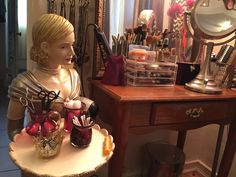 My vanity assistant. She keeps the overflow of stuff off my vanity table so it isn't cluttered :) Home Organization, Clutter, Vanity, Mirror, Stylish, Table, Home Decor, Dressing Tables, Powder Room