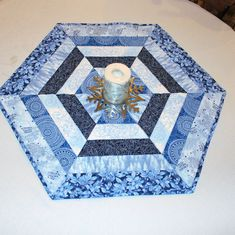 Christmas Quilted Table Runner, Hexagon Table Topper, Blue and Silver SnowFlakeTable Topper by QuiltSewPieceful on Etsy