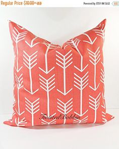On Sale Coral Arrow Pillow cover. Arrow by TwistedBobbinDesigns