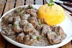 ficatei-de-pui-in-sos-de-smantana Romanian Food, Potato Salad, Mashed Potatoes, Bacon, Food And Drink, Lunch, Homemade, Chicken, Cooking