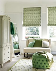 Green Summer Bedroom with Upholstered Ottoman