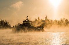 Photo: Niklas Sjöblom, January 5, 2016.  http://taivasalla.net/2016/01/160105_1123_photos_eng.html  Sea smoke around the Suomenlinna ferry in the South Harbour on a freezing winter day. Photo taken from the shore of Katajanokka district towards the islands of Valkosaari and Luoto.