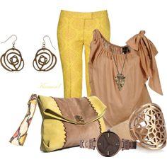 Yellow Jacquard Pant, Angled Tan Blouse...love this combo.