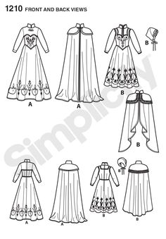 Simplicity Pattern - 1210 / S0745 - Disney Frozen Costumes for Misses - Step into snowy a Norwegian adventure with these Disney Frozen costumes for miss. Pattern includes Elsa's coronation dress and cape, and Anna's adventure dress, cape and hat. #Frozen - Line Art.