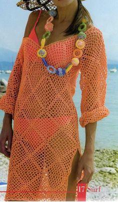 Chorrilho de ideias: Vestido saída de praia laranja em crochet