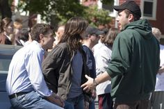 "On the set of ""Gone Baby Gone"", 2007.  L to R: Casey Affleck, Michelle Monaghan, director Ben Affleck."