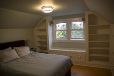 slanted ceiling bedroom storage-for upstairs bedroom if we stay? Home, Bonus Room, Slanted Ceiling Bedroom, House, Upstairs Bedroom, Bedroom Decor, Small Bedroom Remodel, Small Bedroom, Remodel Bedroom