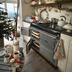 Due to its cast-iron ovens which can accommodate large joints of meat or up to seven pans, the AGA cooker helps to ease the strain of… Aga Kitchen, Kitchen Icon, Kitchen Styling, Cozy Kitchen, Kitchen Ideas, Raised Panel Walls, Aga Oven, Electric Aga, Aga Cooker