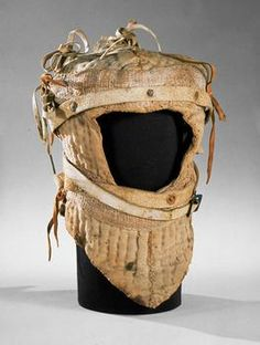 Helmhaube (arming coif), ca. 1484,  Made with Quilted linen, tow, hemp braids, leather. At the Kunsthistorisches Museum Vienna, Austria.
