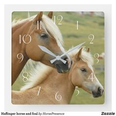 Haflinger horse and foal square wall clock Haflinger Horse, Wall Clocks, Diy Face Mask, Hand Coloring, Dog Design, Party Hats, Funny Cute, Dog Cat, Kids Shop