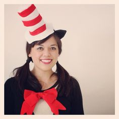 Pin for Later: 70 Mind-Blowing DIY Halloween Costumes For Women Cat in the Hat A striped hat and big red tie will pull together your Seuss-inspired Halloween look.