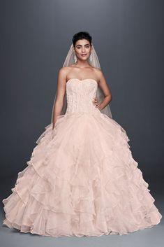 Lace and Organza Ruffled Skirt Wedding Dress Style NTCWG568