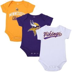 af47b3be8 Minnesota Vikings Newborn 3-Pack Tricolor Creeper Set - White Purple Gold