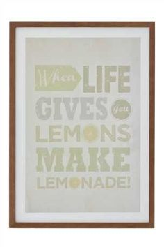 Buy Lemonade Framed Print from the Next UK online shop Lemon Art, Think Happy Thoughts, Summer Colors, Amazing Quotes, Print Pictures, Word Art, Decorating Your Home, Wall Art Decor, Typography