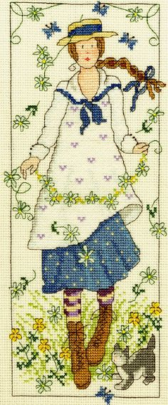 """I love this cross stitch kit from Bothy Threads (a UK needlework company). From a vertical series entitled """"Country Lasses"""", this installment, """"Daisy"""", is beautiful. The image captures the innocence, flirtatious, and wild aspects of daisies. I love the blue in the girl's dress and the little cat at her feet. Available from ebay: http://www.ebay.com/itm/Bothy-Threads-Counted-Cross-Stitch-Kit-Country-Lass-Daisy-/111079602182?pt=UK_Crafts_CrossStitch_RL=item19dcdc3806"""