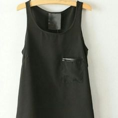 NEW CHIFON TANK Chifon tank with faux leather on pocket size med but fits like a small Tops Tank Tops