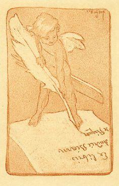 Ex libris by Marquis Franz von Bayros (Austrian, 1866-1924) - 1914
