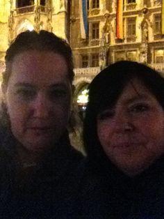 Alex & I - 1st night in Munich- famous clock behind us