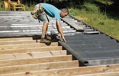 When editorial adviser Mike Guertin builds a deck with more than 4 ft. of space between the framing and the grade, he installs an underdeck-drainage system. Consisting of a membrane installed under the decking, the system collects and channels water into a perimeter gutter system and away from the building. The area beneath the deck is kept dry and can be used for storage or, with enough headroom, a covered patio. Guertin explains how to make an underdeck-drainage system from EPDM…