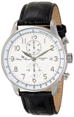 NEW Lucien Piccard LP-10503-02-BK Men's Montilla Leather Black tachymeter Watch