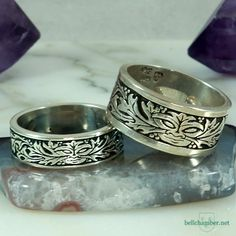 Greenman of the Oak rings in silver with Green antiquing.  Silver Rings $150 USD each.