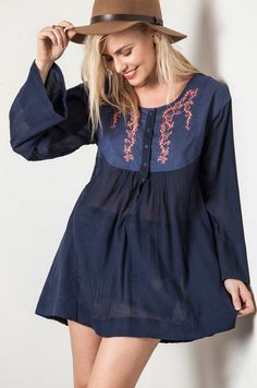 ON SALE! Embroidered Woven Babydoll Blouse - Umgee – Thistle & Finn