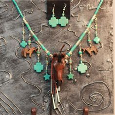 Horse art necklace with turquoise crosses and earrings