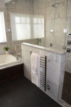 Superb Half Shower Wall With Glass And Amba Towel Warmer.