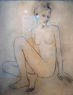 Nu aux jambes croisées - Paris - 1905 - crayon et fusain sur toile Picasso, Paris, Crayon, Charcoal Picture, Toile, Legs, Montmartre Paris, Paris France