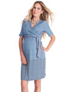 da1e4c8e70ec5 Discreet nursing access Ballet style wrap ties Short sleeves Crossover V  neckline Chic border print Soft