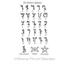 The Witches Alphabet Theban CLING rubber par cherrypieartstamps