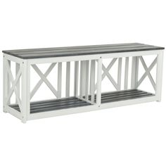 Safavieh Branco White/ Grey Outdoor Bench   Overstock.com