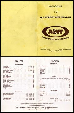 A Root Beer Drive-in Restaraunt call-in menu - 1225 Forest Avenue, Pacific Grove, California - Restaurant Identity, Restaurant Menu Design, Vintage Restaurant, Vintage Menu, Vintage Ads, Vintage Posters, A And W Menu, A&w Restaurants, Sandwich Sides