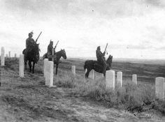 This photograph taken in 1908 on Last Stand Hill features, from left, Whiteman Runs Him, Hairy Moccasin and Goes Ahead. - Photo courtesy of Little Bighorn Battlefield National Monument. - Photographer not known. -  (Photoshoped copy)