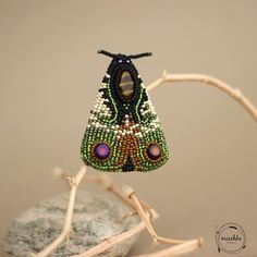 Bead Embroidered Moth Brooch