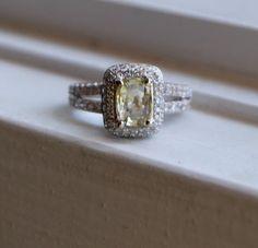 Campagne diamante giallo zaffiro anello 14k oro di EidelPrecious, $2200.00