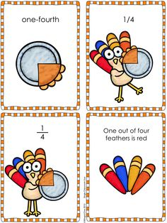 Fall Fractions: Pumpkin Pie - Cards for students to sort (color and black and white) and practice pages $