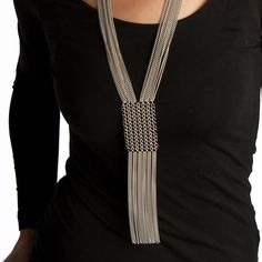 Slinky Panel & Fringe Chainmaille Necklace - Melissa Banks