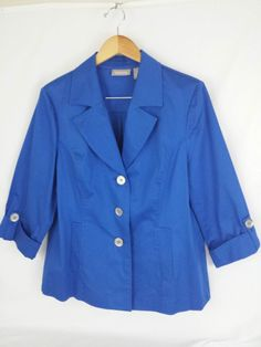 Chico's Women's Jacket Blue Size 2 - 98% Cotton 2% Spandex  Button Down #Chicos #BasicJacket #Casual